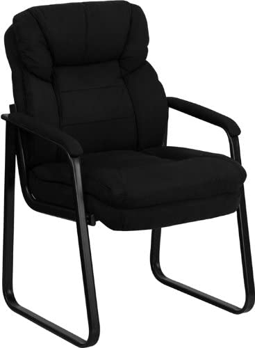 Flash Furniture Black Microfiber Executive Side Reception Chair with Lumbar Support and Sled Base