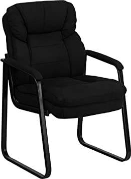 Flash Furniture Black Microfiber Executive Side Reception Chair with Sled Base