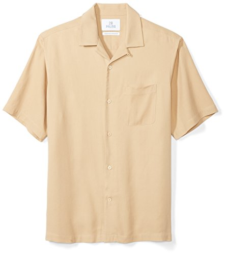 28 Palms Men's Relaxed-Fit 100% Silk Camp Shirt, Tan, X-Large