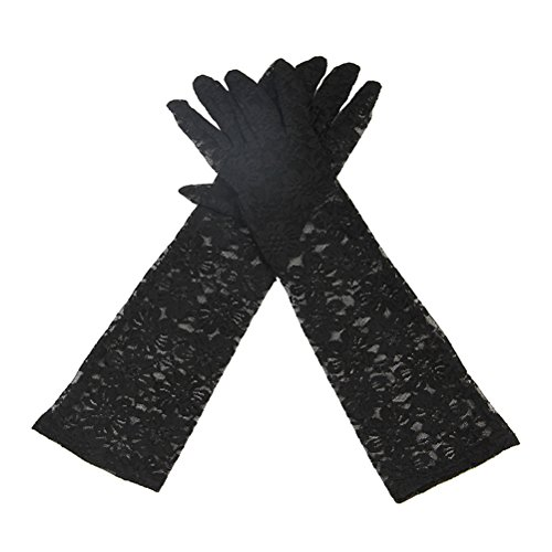 VORCOOL 1ペアレースロンググローブアームグローブ夏の抗UV日焼け防止女性のための完全な指の手袋(黒)