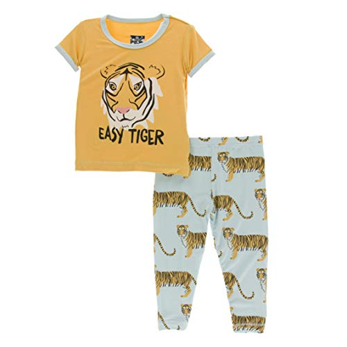(Kickee Pants Little Boys Print Short Sleeve Pajama Set - Spring Sky Tiger, 18-24 Months)