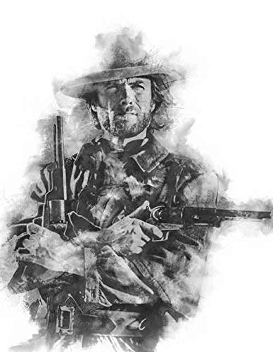 Clint Eastwood Outlaw Josey Wales with Twin 1847 Colt Walker Revolvers Charcoal Art Print