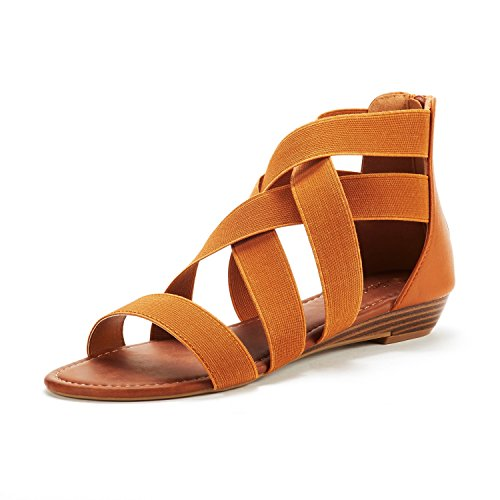 DREAM PAIRS Women's ELASTICA8 Tan Elastic Ankle Strap Low Wedges Sandals Size 7.5 M US