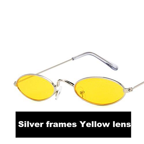 Lente Gafas Marcos HD Metal Para Plata Guay Gafas sol 2018 Amarillo de el Nuevo Casual Moda Oval hombre qxZqTrX