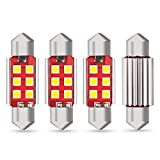 AUXITO 6418 Festoon LED Bulbs CANBUS Error Free Extremely Bright 6411 C5W 36mm(1.42'') Xenon White 6-SMD 3030 Chipset Interior LED Lamps Replacement for Map Dome License Plate Lights, Pack of 4