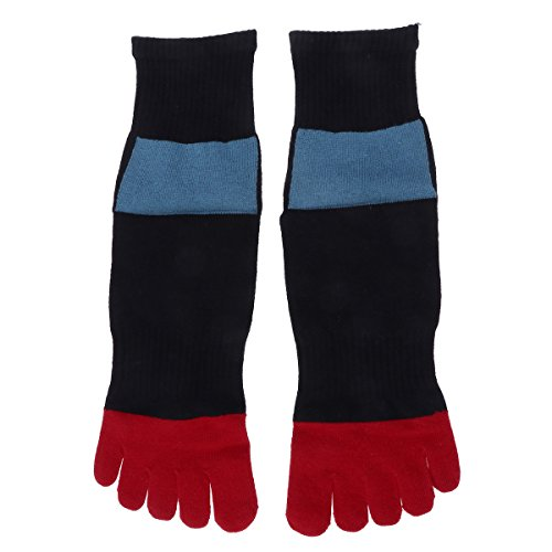 TENDYCOCO Calcetines de algodón medio tubo calcetín dedo del pie calcetín de cinco dedos para hombres para viajar deportes de senderismo (negro): Amazon.es: ...