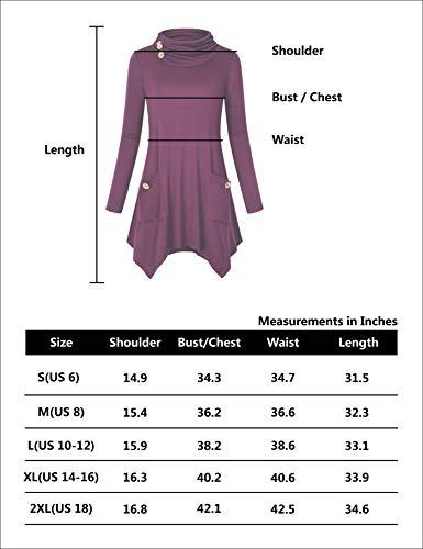 Hibelle Women's Cowl Neck Asymmetric Hem Tunic Tops with Pockets (FBA Only)