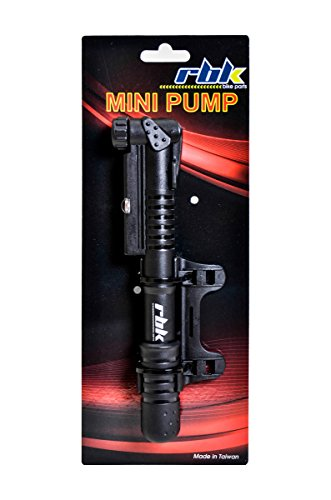 RBK Compact Mini Bike Pump - Reinforced And Ergonomic Plastic, Lightweight With Gauge and Mounting Bracket For Presta and Schrader Valve. Up to 100 psi