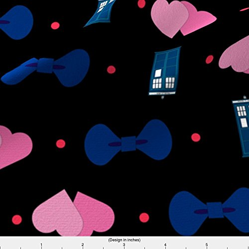 Doctor Fabric I Heart Bow Ties Polka Dot by Costumewrangler Printed on Fleece Fabric by the Yard by Spoonflower (Fabric Fleece Who Doctor)