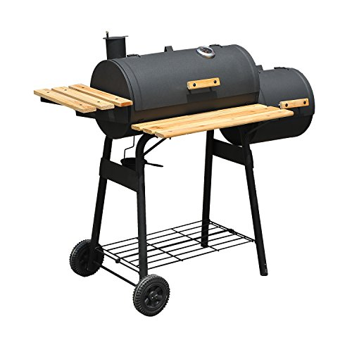 Cheap Outsunny Steel 47″ Steel Portable Backyard Charcoal BBQ Grill and Offset Smoker Combo with Wheels – Black