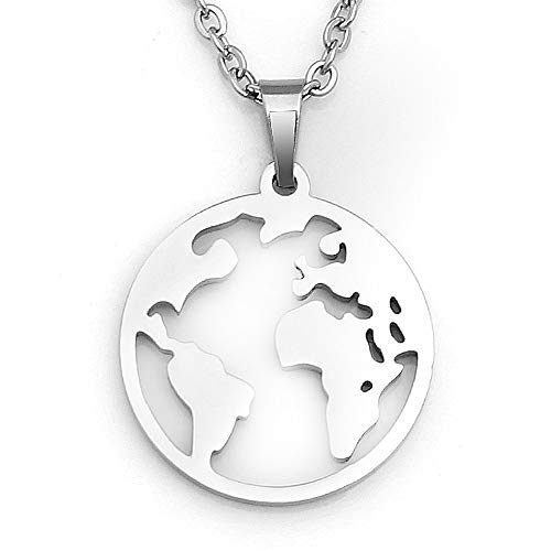 (Followmoon Stainless Steel Love Words Engraved Hypoallergenic Pendent Necklaces Pendant Necklaces for Men Women Girl Boy Jewelry (map-White))