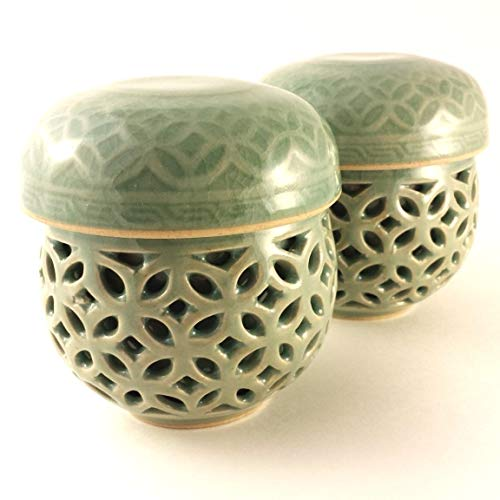 Korean Celadon Infuser Cup Set / 2 Set / Double Wall / Hand-crafted