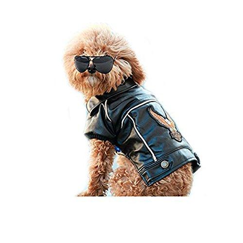 Youshe Dog Pet Pu Leather Motorcycle Jacket Clothes Watherproof Black ()