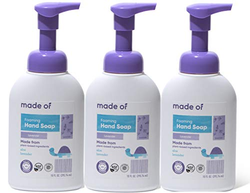 MADE OF Hand Soap Organic Foaming - EWG Verified & Rated 1 - Dermatologist and Pediatrician Tested for Sensitive Skin and Eczema - Made in USA - 10oz (Lavender, - Hand Organic Soap Foaming