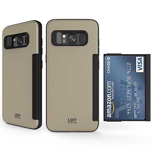 Galaxy S8 Case, Molan Cano [Lucy] Slide Out Card Holder Wallet Case Dual Layer PU Cover with 1 Card Slot for Samsung Galaxy S8 - Champagne Gold