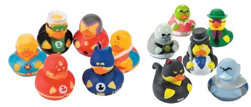 12 Rubber Ducks Superhero & Villian Bathtub Boy's Birthday Party Favors Cake Toppers