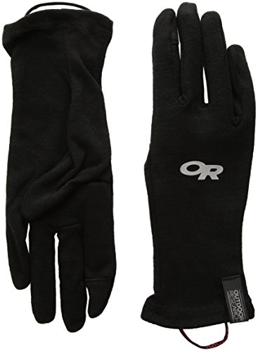 (Outdoor Research Woolly Sensor liners Gloves, Black, Large)