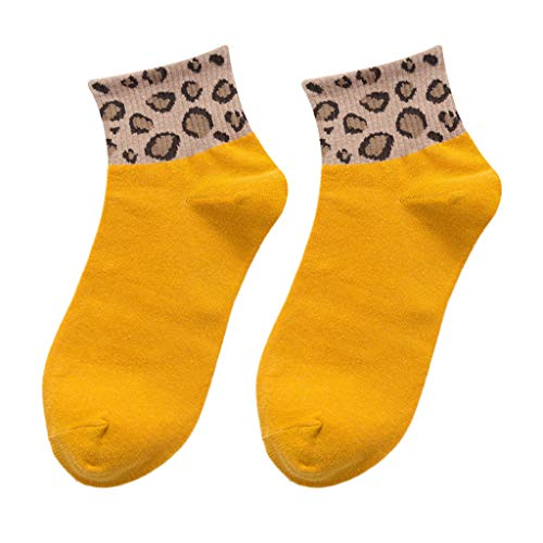 New Spring Women Ladies Leopard Print Socks Fashion Women Anklets Sox Bobbysocks Yellow