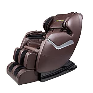 Real Relax Massage Chair Recliner, Electric Zero Gravity Full Body Shiatsu Stretched Massaging Chair with Heat (Brown)