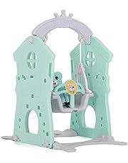 Baby Vivo Schommel Kinderspeelplaats Speeltuin Schommel frame Speelparadijs voor Binnen Buiten Kunststof - Turkoois/Grijs