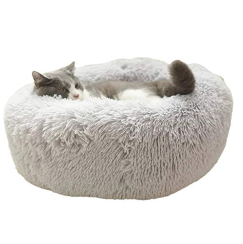 ALLNEO Luxury Shag Fuax Fur Donut Cuddler Round Donut Pet Bed Faux Fur Dog Beds for Medium Small Dogs - Self Warming Indoor Round Pillow Cuddler (S-20208inch, Light Grey)