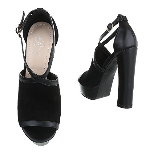 chaussures Design Noir femme compensées Ital fax5nqx