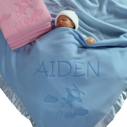 Personalized Airplane Baby Blanket Gifts - Large Custom Blankets, Boy or Girls (Blue, Pink: 1 Text Line)