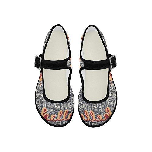 Zapatos Para Caminar Casualprint Mujeres Comfort Mary Jane Flats