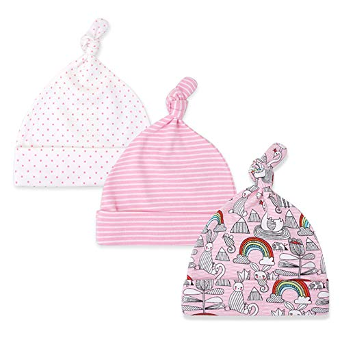 Cute Baby Infant Striped Cap Hospital Newborn Soft Beanie Bow Rhinestone Hat