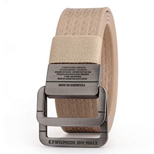 JUIHUGN Military Equipment Tactical Belt Man Double Ring Buckle Thicken Canvas Belts for Men Waistb Khaki 150cm