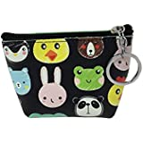 Compact Multi-pattern Pouch Coin Purse with Zipper and Key Chain (Cute Animal Faces)
