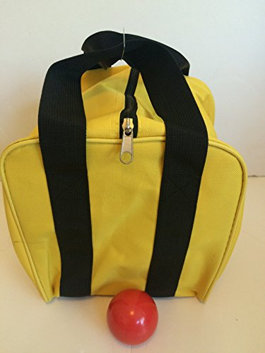 Unique Bocce Accessories Package - Extra Heavy Duty Nylon Bocce Bag (Yellow with Black Handles) and Red pallina by BuyBocceBalls