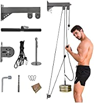 S SMAUTOP Fitness LAT and Lift Pulley System, Upgraded Pulley Cable Machine with Loading Pin for LAT Pull Down
