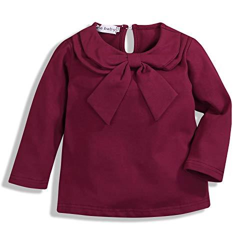 GSHOOTS Toddler Girls' Long Sleeve Peter Pan Collar Shirt (90/1-2T, Burgundy)