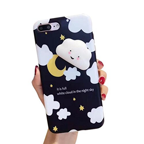 Squishy 3D Cute Cloud Clear Silicone Back Soft Case Cover Skin ,Protective Case for iPhone 8 Plus 5.5 inch,Tuscom (A)