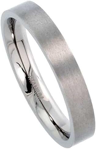 Titanium Plain Wedding Band Thumb Ring 4mm Flat Comfort-Fit Brushed finish, sizes 5 - 12