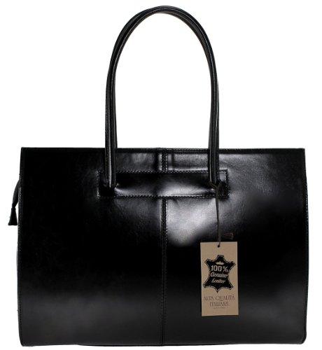 en de femmes documents avec Italie Fabriqué MC 40x30x12cm véritable poignées professionnels Sac Noir 100 cuir pour porte w14q6XcTy