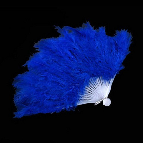 Blue Wedding Gift Burlesque Dance Fancy Costume Folding Feather Hand Fan