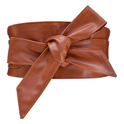 Women's PU Leather Obi Belt Cityelf Wrap Around Cinch Boho Band(tan)