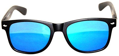 Flat Mirrored Reflective Blue-Green Lens Sunglasses Black Frame Horn Rimmed - Reflective Green Blue Sunglasses