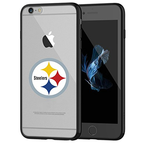 Steeler Shocks - Steelers iPhone 6s Tough Case, Shock Absorption TPU + Translucent Frosted Anti-Scratch Hard Backplate Back Cover for iPhone 6 / 6s - Black