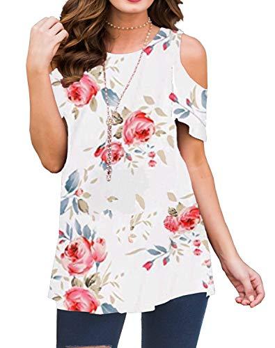 Kancystore Women's T-Shirt Short Sleeve Floral Tees Off The Shoulder Summer Tops (Pattern 4, XL)