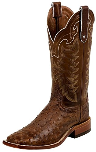 (E9323 Tony Lama Men's Vintage Ostrich Western Boots - Chocolate - 10.0\EE)