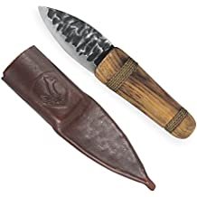 "Condor Tool & Knife Otzi 2.5"" Burnt American Hickory Handle Leather Sheath Fixed Blade Knife"