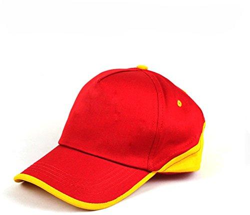 Eforstore Big Brim UV Protect Peaked Baseball Hat Cap Golf Cap Visor (Red+Yellow) (Visor Cap Mlb Hat)