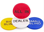 SmartDealsPro 4pcs Small Blind, Big Blind, Dealer and All in Poker Buttons