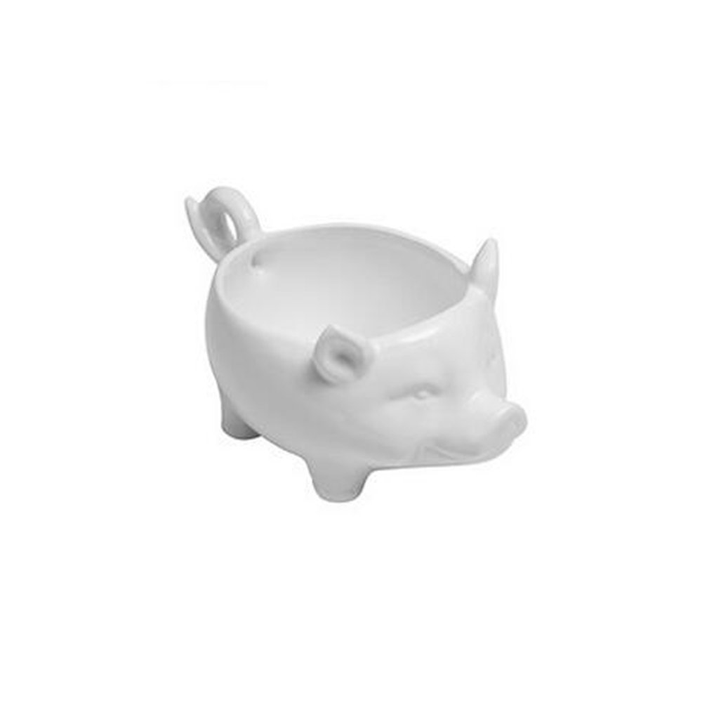 Colias Wing Home Decoration Desk Ornaments-Lovely Animal Pig Stylish Design Ceramic Trinkets Tray Necklace Earrings Rings Stand Display Organizer Holder Jewelry Holder Decor Dish Plate-White