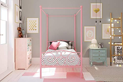 Canopy Pink Twin Bed with Sturdy Bed Frame for Girls,Toddlers and Little Princesses,Little Girls Furniture for Bedroom