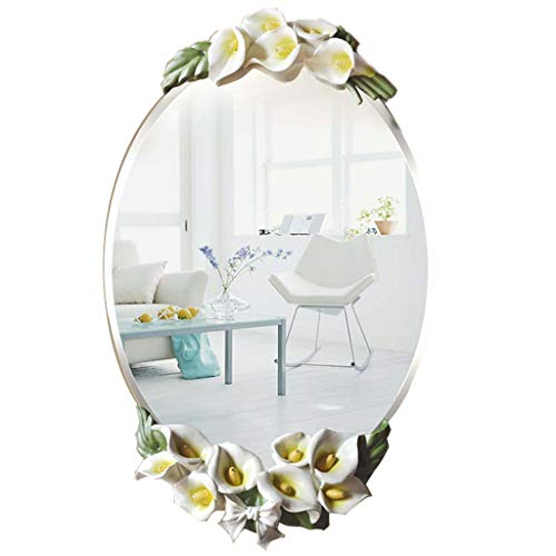 Calla Lily Wall Hanging Mirror, Oval Creative Makeup Mirror, Glass Decorative Wall Hanging Mirror -67x40cm