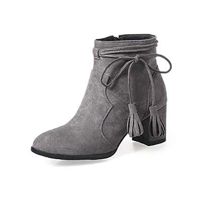 BalaMasa Womens ABS13955 Closed-Toe Dress Low-Top Gray Pu Boots - 2.5 UK (Lable:34)